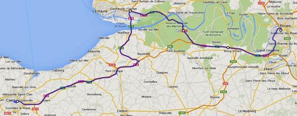 Streckenplan 14. Etappe Motorradtour durch Frankreich an den Atlantik von Caen nach Rouen