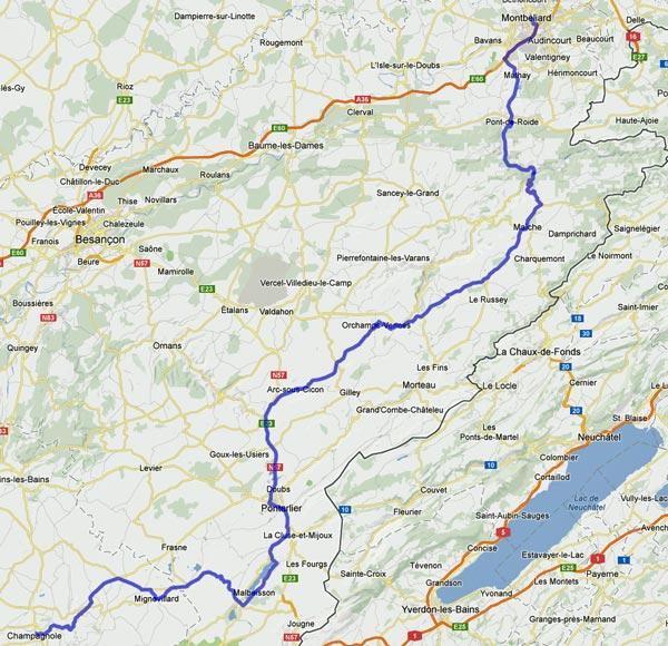 17. Etappe Montbéliard-Champagnole einer Motorradtour von Moskau nach Lyon