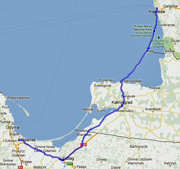 9. Etappe Klaipeda-Danzig einer Motorradtour von Moskau nach Lyon