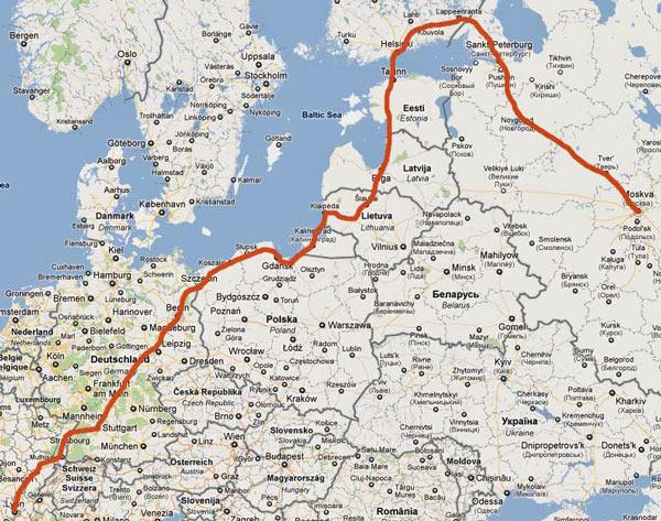 Gesamtstrecke einer Motorradtour von Moskau nach Lyon
