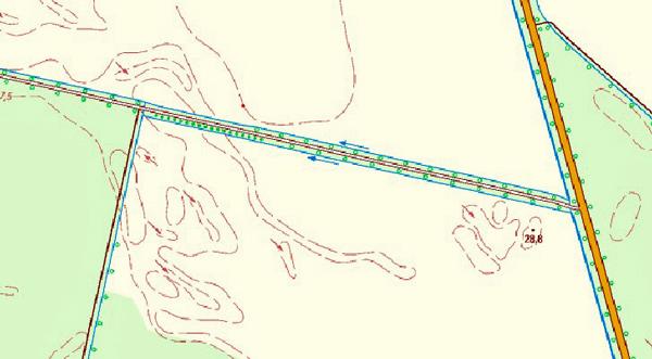 Topographische Darstellung eines Kanals im Rhinluch, Lkr. Havelland