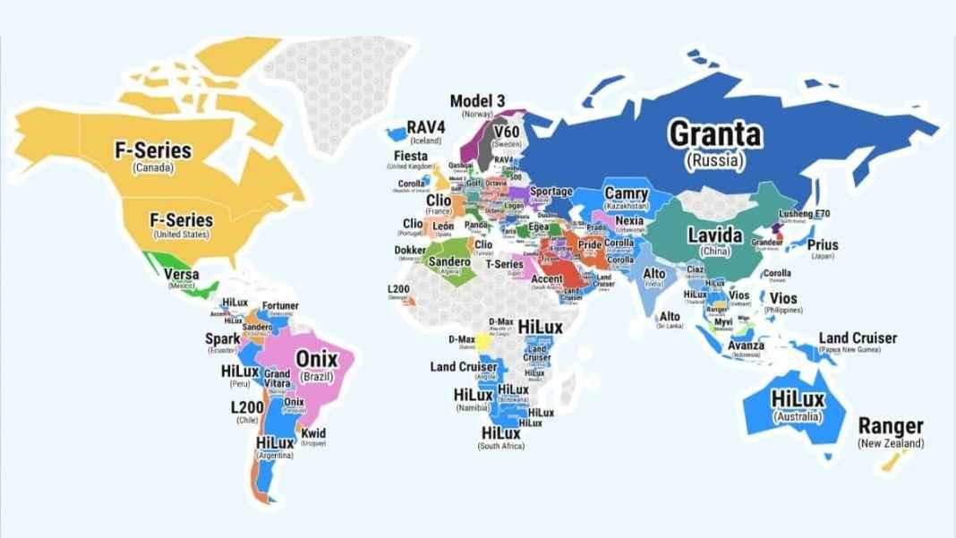 Les Voitures les plus vendues au monde, par pays