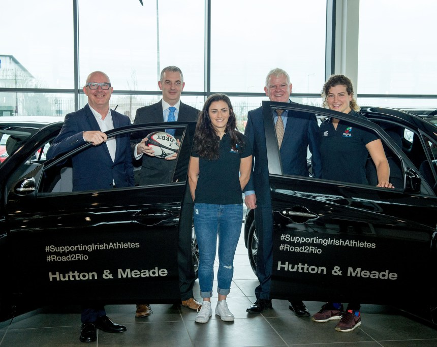 Jonathan Meade (Dealer principal) Nigel Brennan (General Manager) Joe Hutton (Dealer Principal) with Lucy Mulhall and Jenny Murphy Irish Rugby Women's Sevens Players and members of IRUPA picking up their Hyundai cars from Hutton and Meade Main Hyundai dealers in Dublin March 2016 Image from Michael Chester