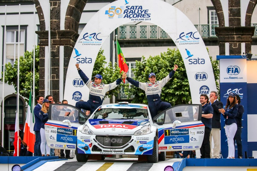 01 BREEN Craig MARTIN Scott PEUGEOT 208 T16 ambiance portrait during the 2015 European Rally Championship ERC Azores rally,  from June 3 to 6th, at Ponta Delgada, Portugal. Photo Jorge Cunha / DPPI