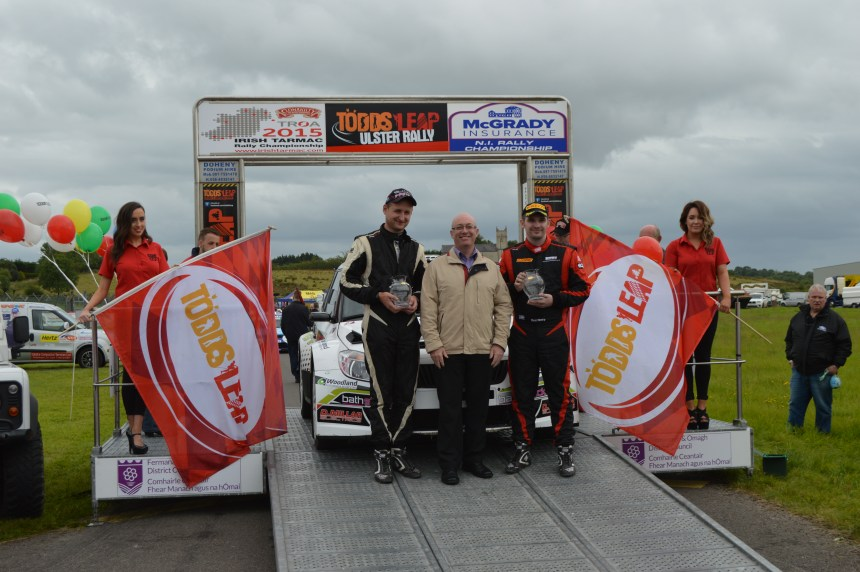 Desi Henry (r) 2nd overall Ulster Rally- top McGrady Insurance NI Championship points scorer with Liam Moynihan.