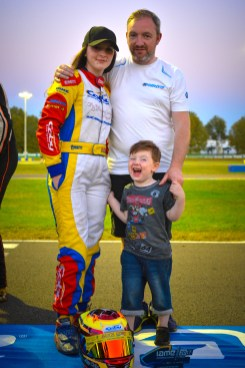Alyx Coby with her father, Gary, and brother, Christian, at the IAME International Final, Le Mans, France. Photo: Marc Quinlivan