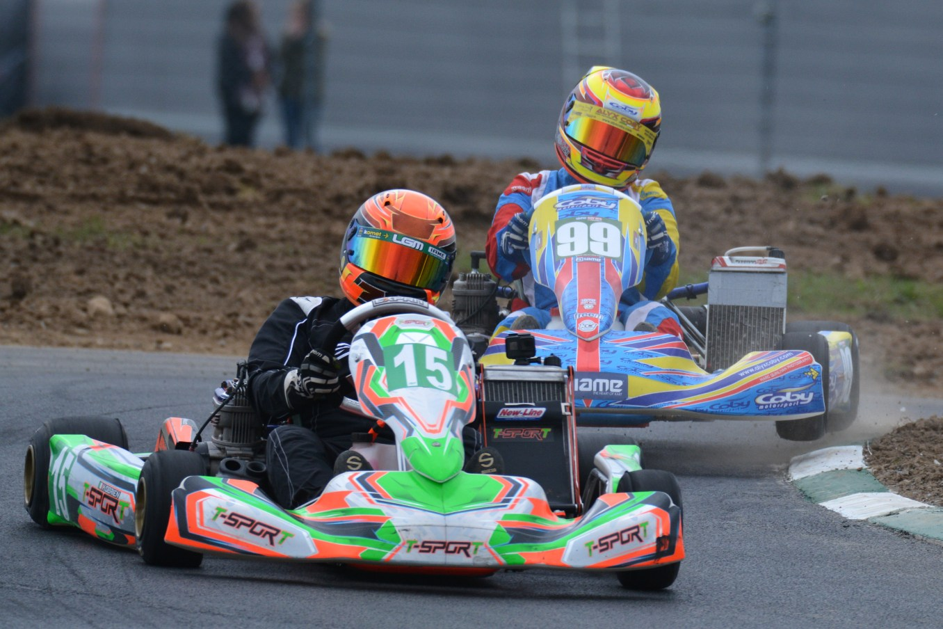 Alyx Coby (number 99) at Round 2 of the Motorsport Ireland Karting Championship at Mondello Park. Photo: Marc Quinlivan.