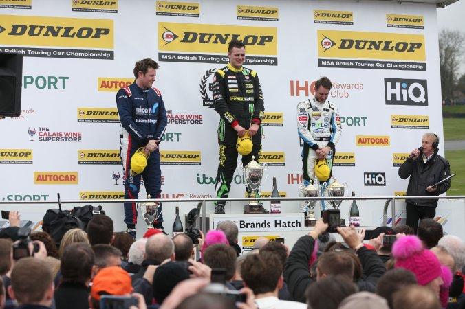 Podium, Ollie Jackson, AmD Tuning Audi S3, Senna Proctor, Power Maxed Racing Vauxhall Astra and Jake Hill, Team Hard Volkswagen CC