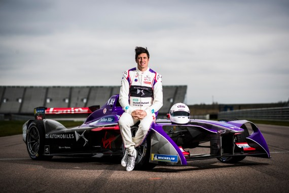 1. Vernon Kay beside the DS Virgin Racing team's Formula E car