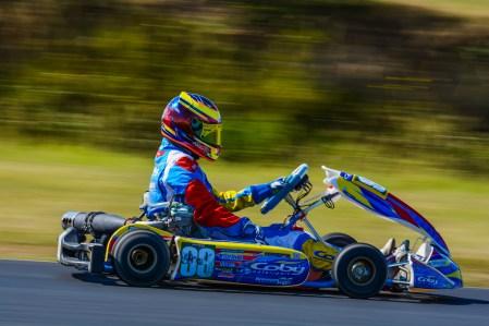 Alyx Coby at Round 5 of the Motorsport Ireland Karting Championship at Mondello Park. Photo: Marc Quinlivan