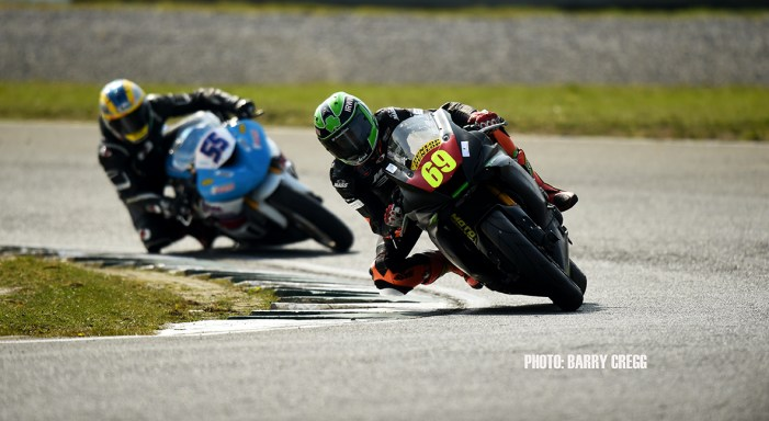 06-04-2019; Coalain Irwin,Yamaha R6, leads Raymond Casey, Kawasaki ZX6R, on his way to winning the Supersport race at the Mondello Masters. Dunlop Mondello Masters Rounds 1,2&3, Mondello Park, Donore, Naas, Co. Kildare. Photo Barry Cregg