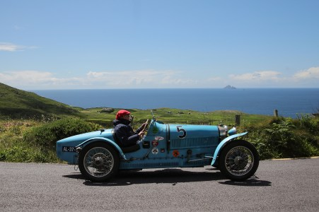 Bugatti Tour Meeting driving Bolus Head, Co Kerry. International Bugatti Meetings are held in a rotation through Europe. In 2019 the meeting based at the Dunloe Castle, Killarney, toured the peninsulas of West Cork and Kerry. Driving the Wild Atlantic Way. The most iconic and valuable Bugatti cars celebrates its 110th anniversary. Frenchman Ettore Bugatti created the first engineering art form of car manufacturing in 1909. The symbolic racing cars are worth millions of euro.Photo:Valerie O'Sullivan©