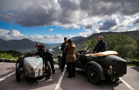 Bugatti Tour Meeting driving Ladies View, Killarney, Co Kerry. International Bugatti Meetings are held in a rotation through Europe. In 2019 the meeting based at the Dunloe Castle, Killarney, toured the peninsulas of West Cork and Kerry. Driving the Wild Atlantic Way. The most iconic and valuable Bugatti cars celebrates its 110th anniversary. Frenchman Ettore Bugatti created the first engineering art form of car manufacturing in 1909. The symbolic racing cars are worth millions of euro.Photo:Valerie O'Sullivan©