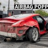 Container Smashing Madman Gets Rowdy in the BurnYard in his 370z