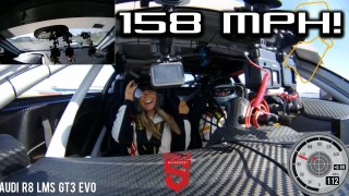 Girlfriend goes for a 158MPH spin in Audi GT3 supercar!