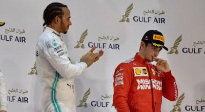 Hamilton Leclerc Podio Bahrain F1 GP