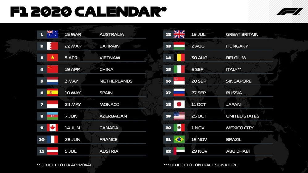 Calendario Gran Premi Formula 1 2020