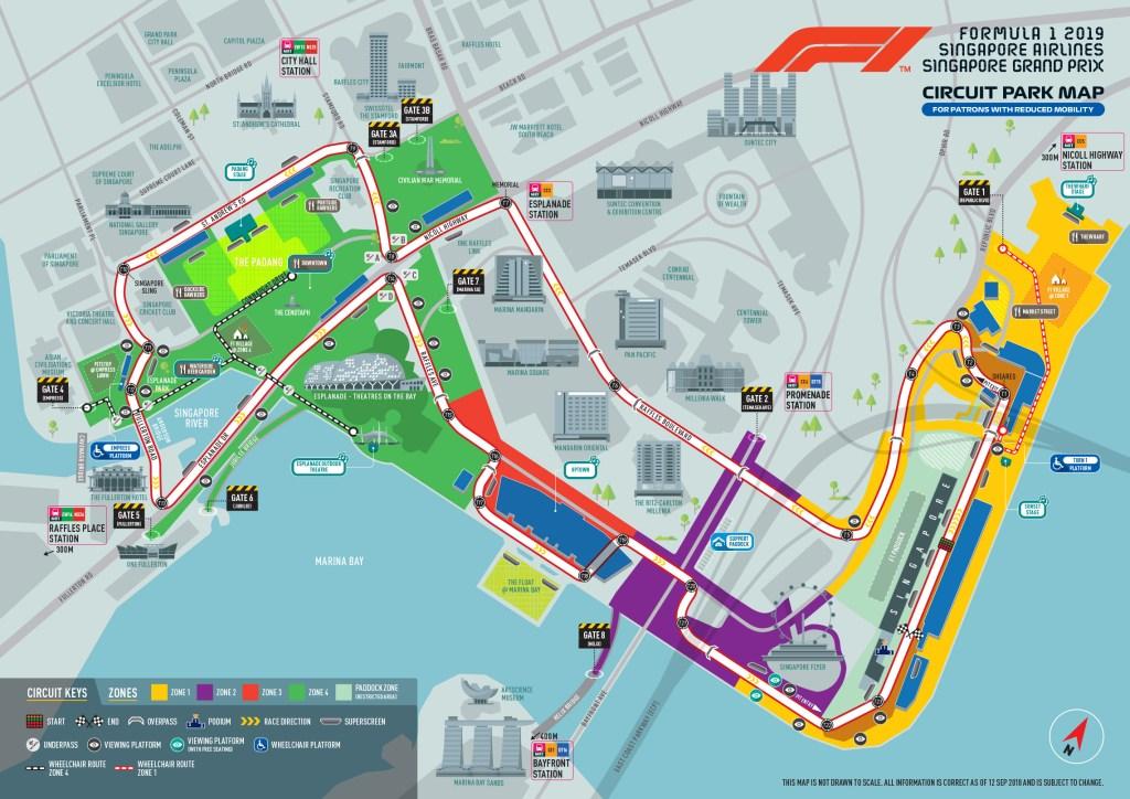 Il circuito del Gran Premio di Singapore 2019