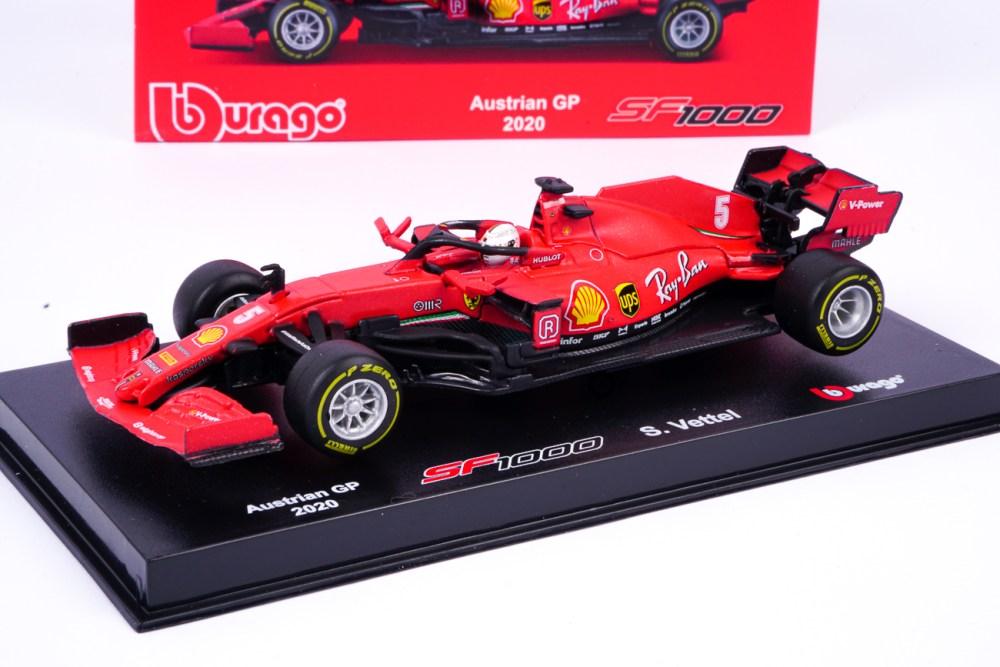 modellino f1 ferrari sf1000 rosso classico vettel scala 1:43 burago con casco