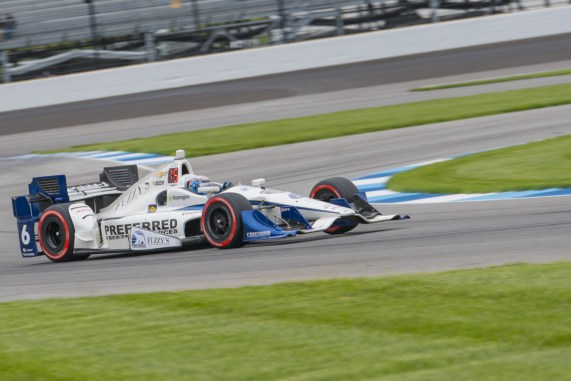 JR Hildebrand(6) exits turn 12 during the Angie's List Grand Prix of Indianapolis at Indianapolis Motor Speedway, Saturday, May. 14, 2016, in Indianapolis, IN. (Tribute Racing/Matthew Bishop)