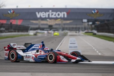 Takuma Sato(14) powers out of turn 7 during the Angie's List Grand Prix of Indianapolis at Indianapolis Motor Speedway, Saturday, May. 14, 2016, in Indianapolis, IN. (Tribute Racing/Matthew Bishop)