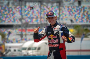 Sebastian Eriksson gives the thumbs up to the crowd during pre-race ceremonies for Red Bull Global Rallycross Supercars at Daytona International Speedway on June 18, in Daytona Beach, FL