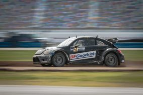 After the Saturday fire, Scott Speed drives a backup car to second place during the second Red Bull Global Rallycross Supercars final at Daytona International Speedway on June 19, in Daytona Beach, FL