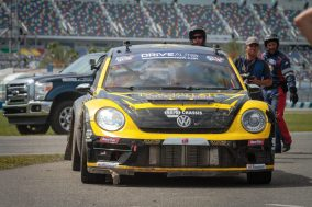 Tanner Foust makes his way towards victory lane after winning the second Red Bull Global Rallycross Supercars final at Daytona International Speedway on June 18, in Daytona Beach, FL