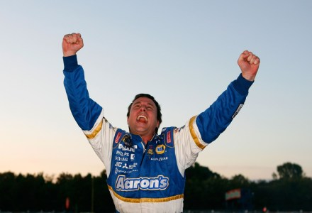 MEMPHIS, TN - OCTOBER 27:  David Reutimann, driver of the #99 Aaron's Dream Machine Toyota, celebrates his win in the NASCAR BUSCH Series Sam's Town 250 at Memphis Motorsports Park October 27, 2007 in Memphis, Tennessee.  (Photo by Kevin C. Cox/Getty Images for NASCAR)