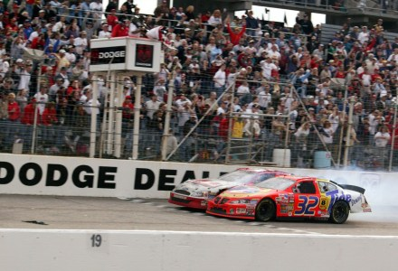 DARLINGTON, SC - MARCH 16, 2003:  Ricky Craven edged Kurt Busch by .002 of a second in the 2003 Carolina Dodge Dealers 400, to post the closest finish in NASCAR Cup Series history. The two waged an amazing fender-banging duel during the final laps to please the estimated crowd of 55,000.  (Photo by ISC Archives via Getty Images)