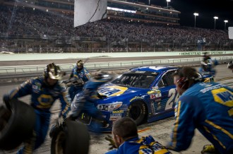 Sprint Cup Series driver Chase Elliott (24) gets service during the Ford Ecoboost 400 at Homestead-Miami Speedway, Sunday, Nov. 20, 2016, in Homestead, FL.