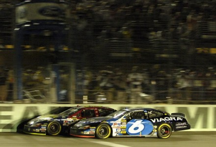 HOMESTEAD, FL. - NOVEMBER 20:  Greg Biffle, driver of the #16 National Guard Ford defeats teammate Mark Martin, driver of the # 6 Viagra Ford, to win the NASCAR Nextel Cup Series Ford 400, on November 20, 2005 at the Homestead Miami Speedway in Homestead, Florida. ( Photo by Rusty Jarrett/Getty Images )