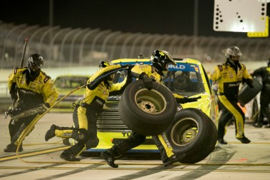 Matt Crafton (88) comes in for 4 tires and fuel during the Ford Ecoboost 200 at Homestead-Miami Speedway.