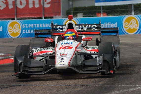 Sebastien Bourdais rolls through turn 4 on his way to a season-opening victory in the Firestone Grand Prix of St. Petersburg