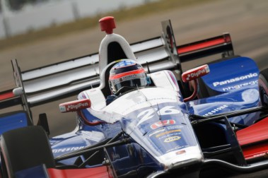 Takuma Sato works the wheel through turn 2 during the Firestone Grand Prix of St. Petersburg on Sunday Mar. 12, 2017.