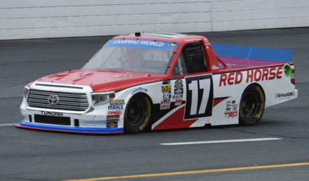 LOUDON, NH - SEPTEMBER 23:  Timothy Peters, driver of the #17 Red Horse Racing Toyota, drives during practice for the NASCAR Camping World Truck Series UNOH 175 at New Hampshire Motor Speedway on September 23, 2016 in Loudon, New Hampshire.  (Photo by Rainier Ehrhardt/NASCAR via Getty Images)