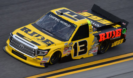 DAYTONA BEACH, FL - FEBRUARY 23:  Cody Coughlin, driver of the #13 Ride TV/JEGS Toyota, drives during practice for the NASCAR Camping World Truck Series NextEra Energy Resources 250 at Daytona International Speedway on February 23, 2017 in Daytona Beach, Florida.  (Photo by Jared C. Tilton/Getty Images)