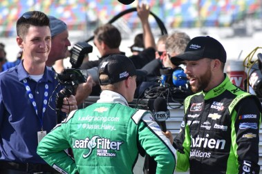 Part-time Kaulig Racing driver Ross Chastain interviews temporary teammate Justin Haley.