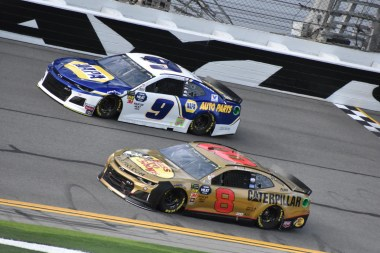 Chase Elliott (9) and Daniel Hemric (8)
