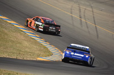 Truex heads into Turn 6 while Chase Elliott following suit.