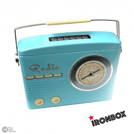 boite metal vintage radio blue sas flexeo