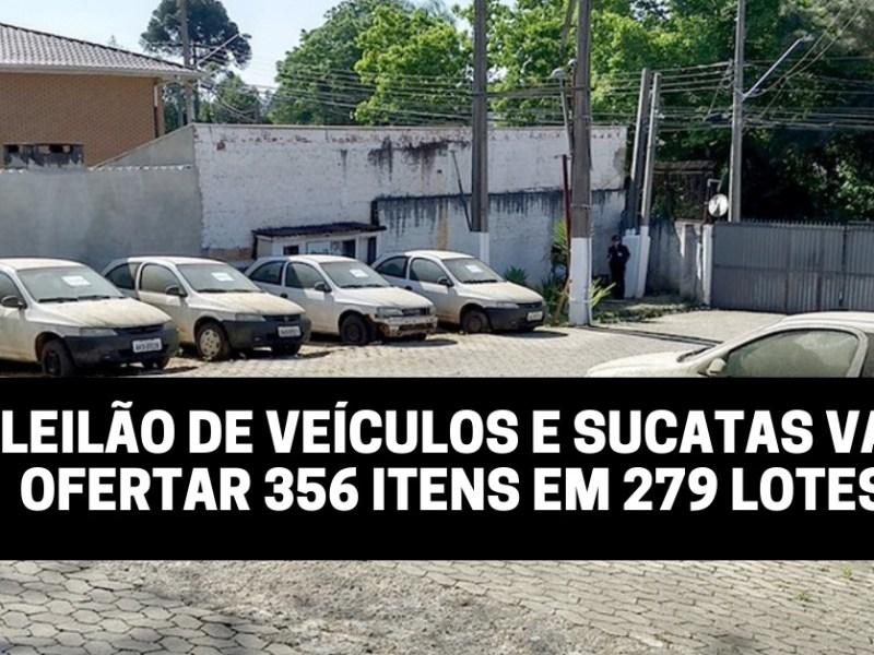 Leilão de veículos e sucatas vai ofertar 356 itens em 279 lotes