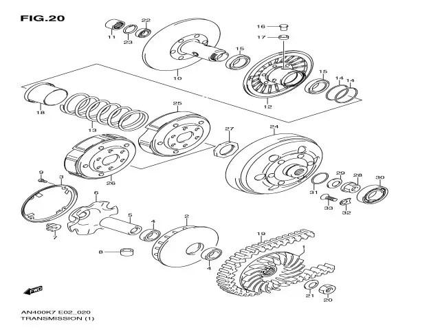Embrague completo del motor Suzuki burgman 400 2007-2013
