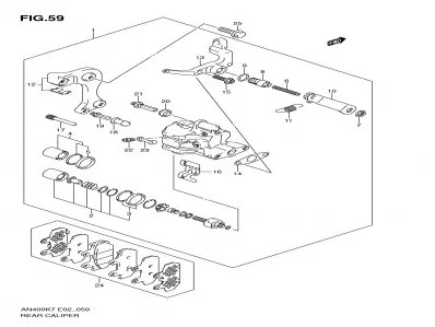 Mecanismo freno mano trasero Suzuki burgman 400 2007-2013