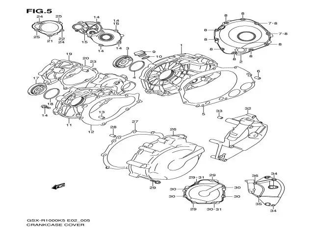 Tapa del piñon de ataque del motor Suzuki gsx 1000 r 2005