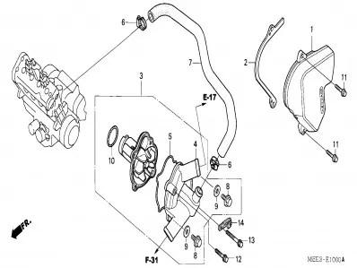 Tapa del piñon de ataque del motor Honda Cbr 600 rr 2003
