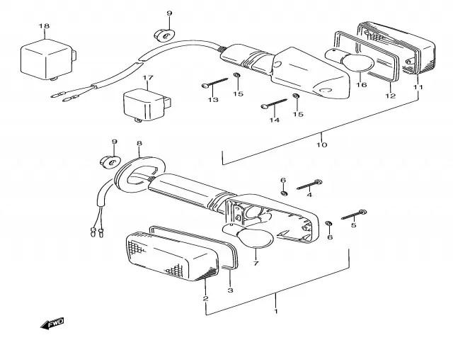 Intermitente trasero izquierdo Suzuki Gsx f 750 1989-1997