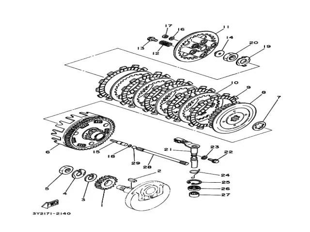 Embrague completo del motor Yamaha Sr 250 1980-1989
