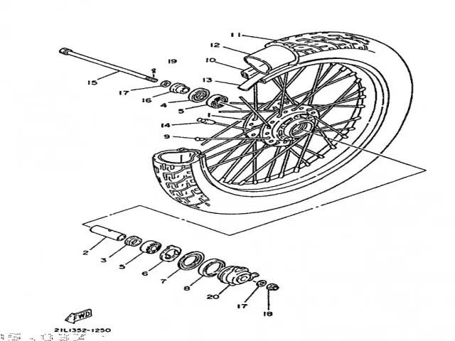 Rueda delantera tambor Yamaha Sr 250 1980-1989