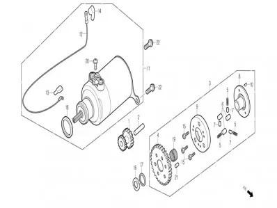 Piñón doble motor de arranque Daelim Besbi 125 2008-2012